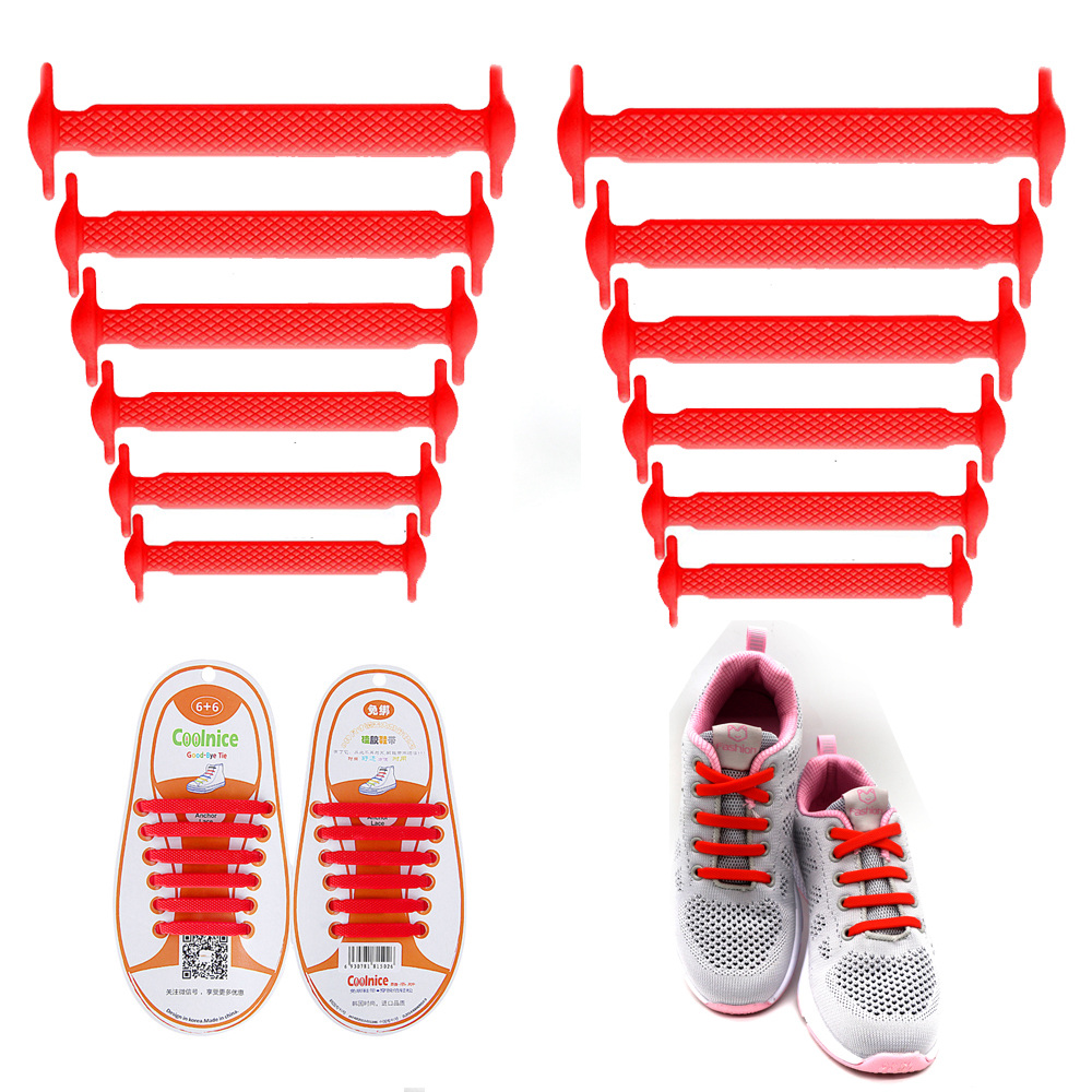 Coolnice No Tie Shoelaces for Kids and Adults (1 Pair Kids Size Red)