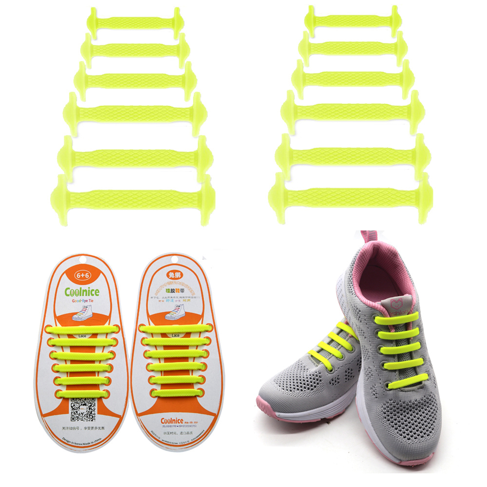 Coolnice No Tie Shoelaces for Kids and Adults (1 Pair Kids Size Yellow)