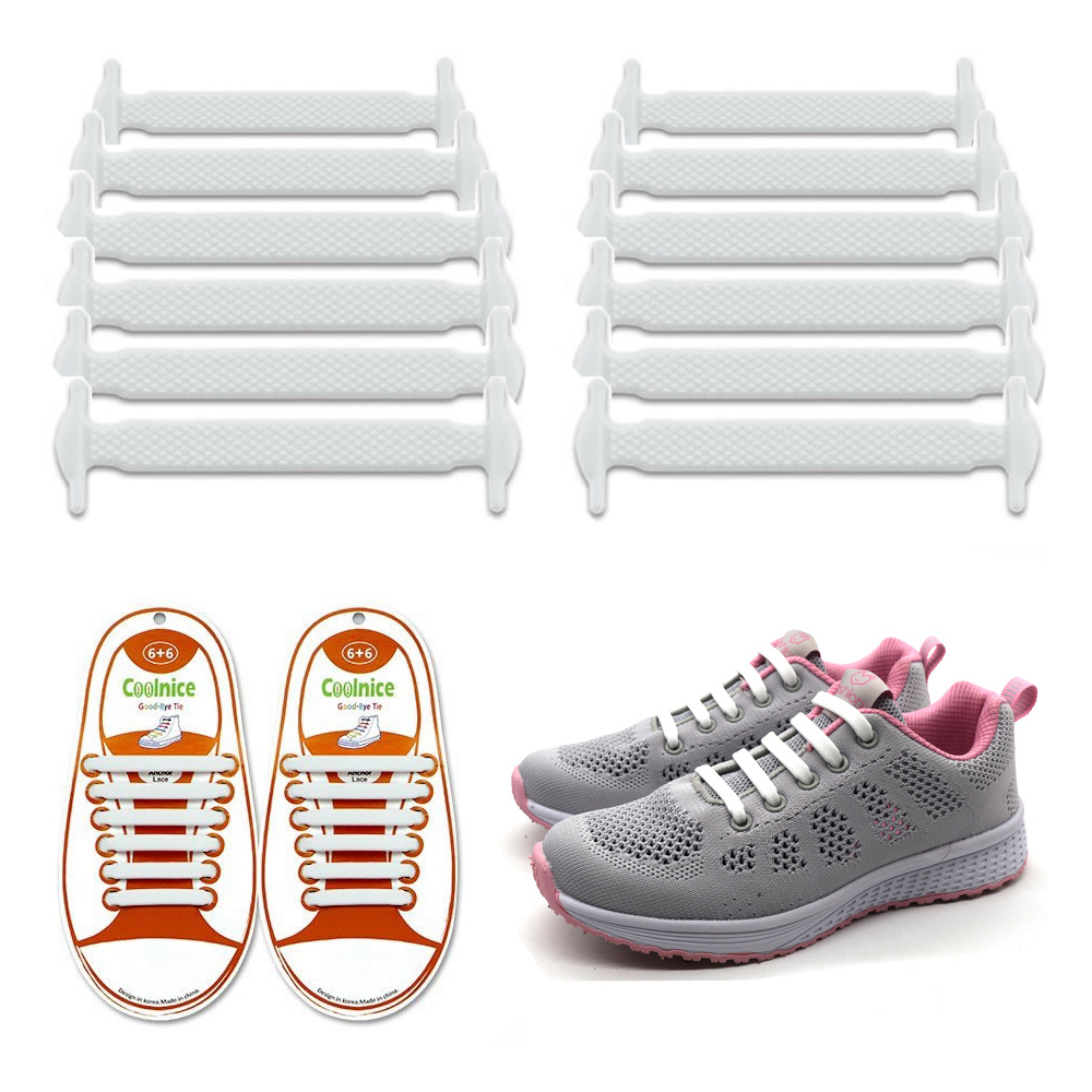 Coolnice No Tie Shoelaces for Kids and Adults (1 Pair Kids Size White)