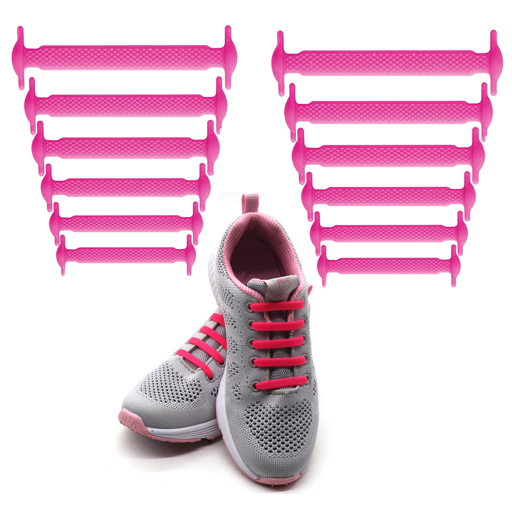 Coolnice No Tie Shoelaces for Kids and Adults (1 Pair Kids Size Pink)
