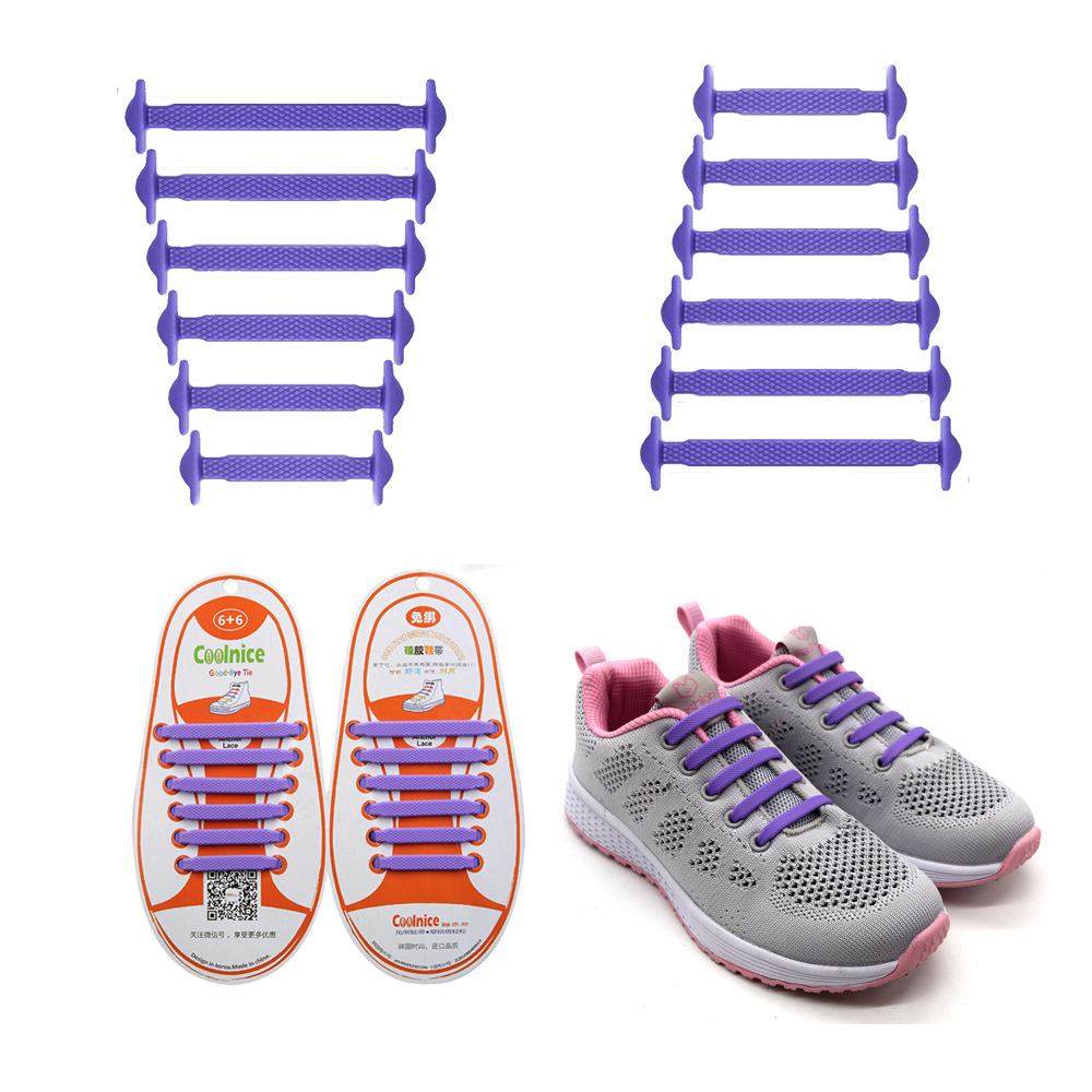 Coolnice No Tie Shoelaces for Kids and Adults (1 Pair Kids Size Purple)
