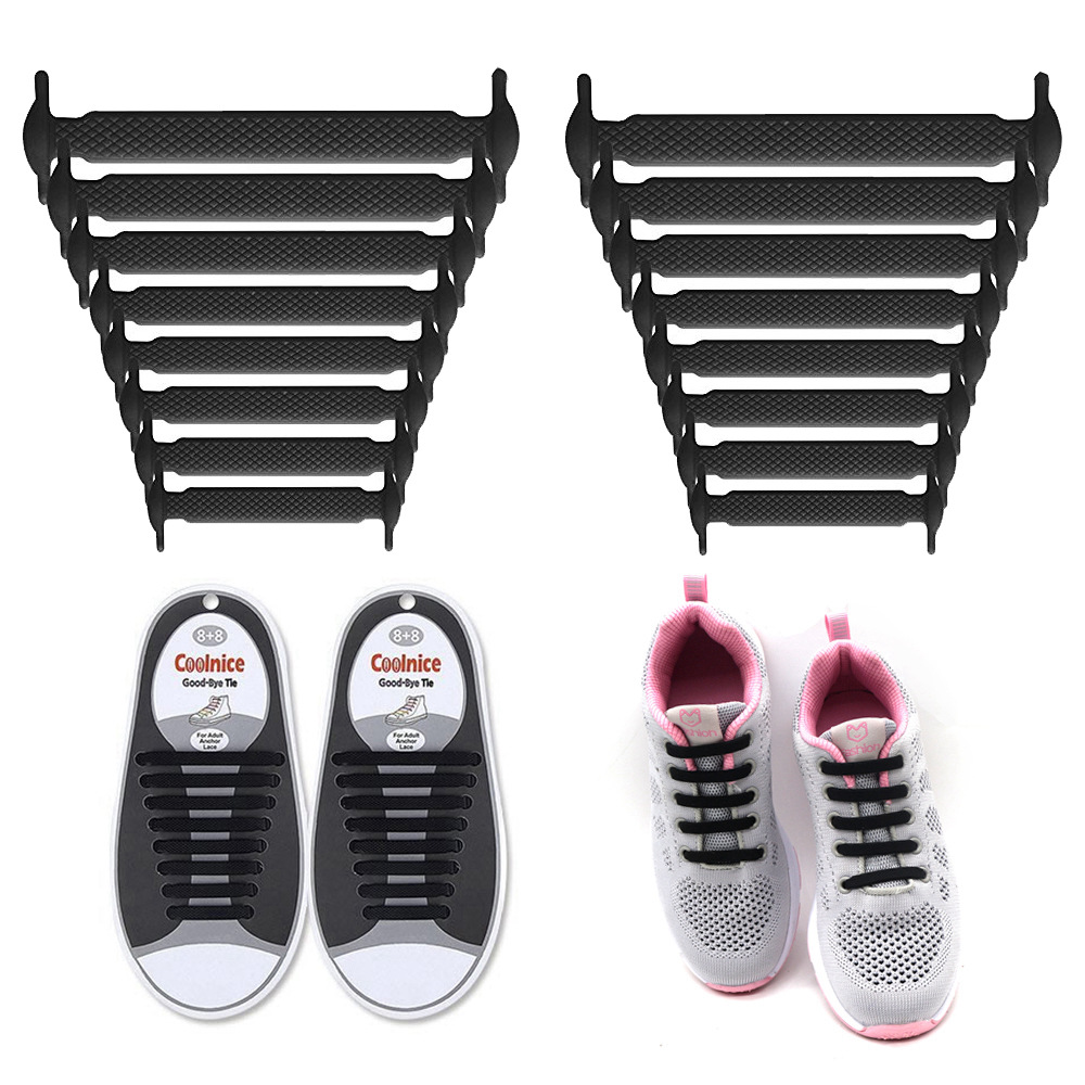 Coolnice No Tie Shoelaces for Kids and Adults (1 Pair Adults Size Black)