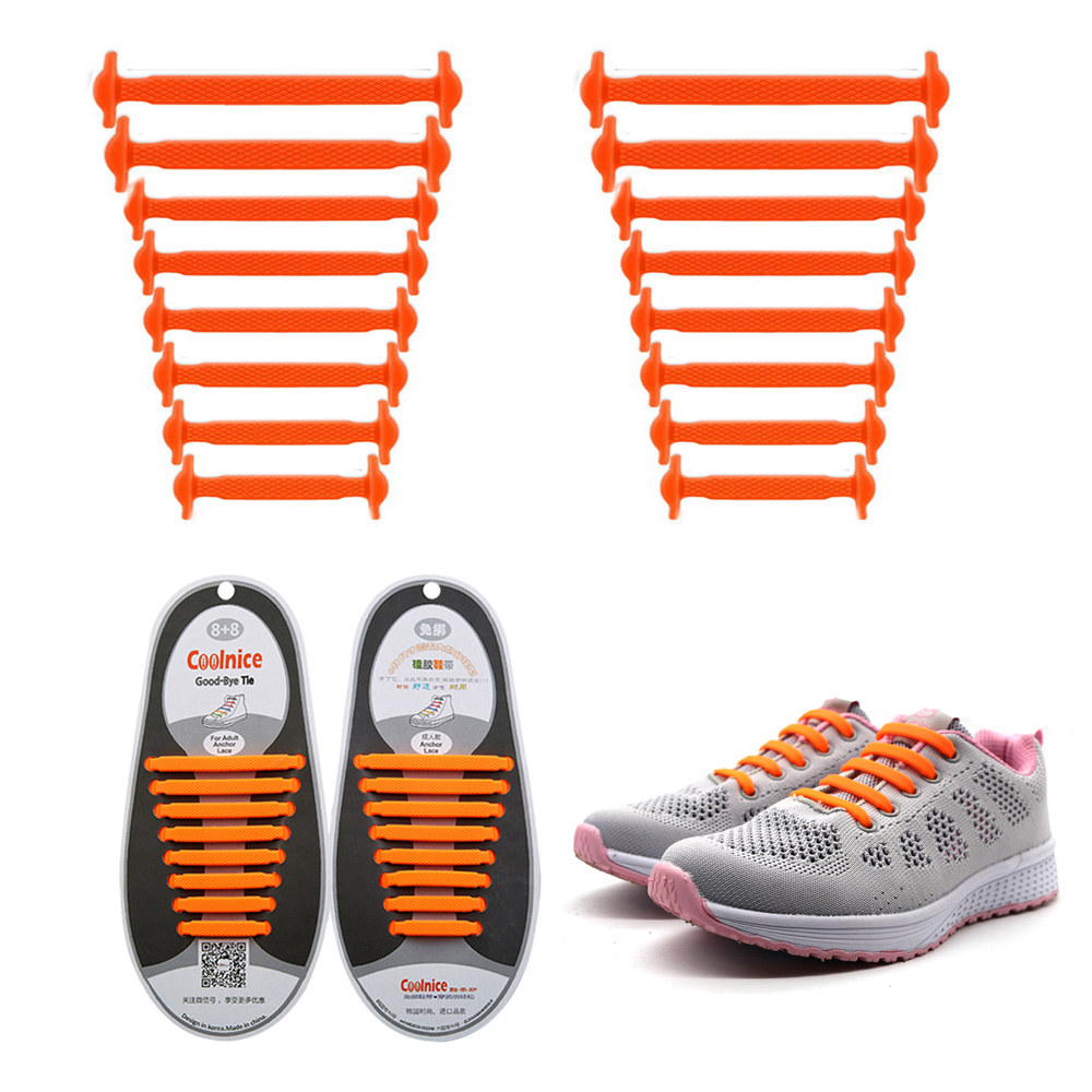Coolnice No Tie Shoelaces for Kids and Adults (1 Pair Adults Size Orange)
