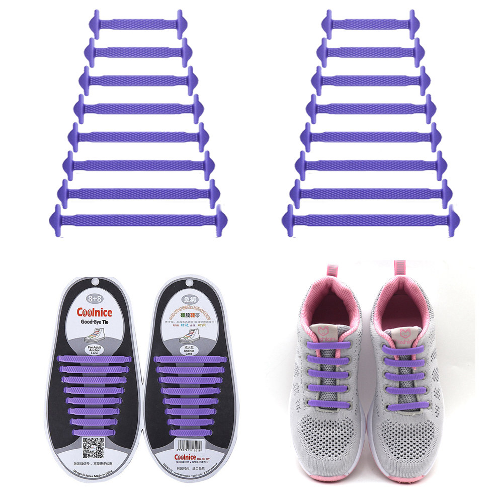 Coolnice No Tie Shoelaces for Kids and Adults (1 Pair Adults Size purple)