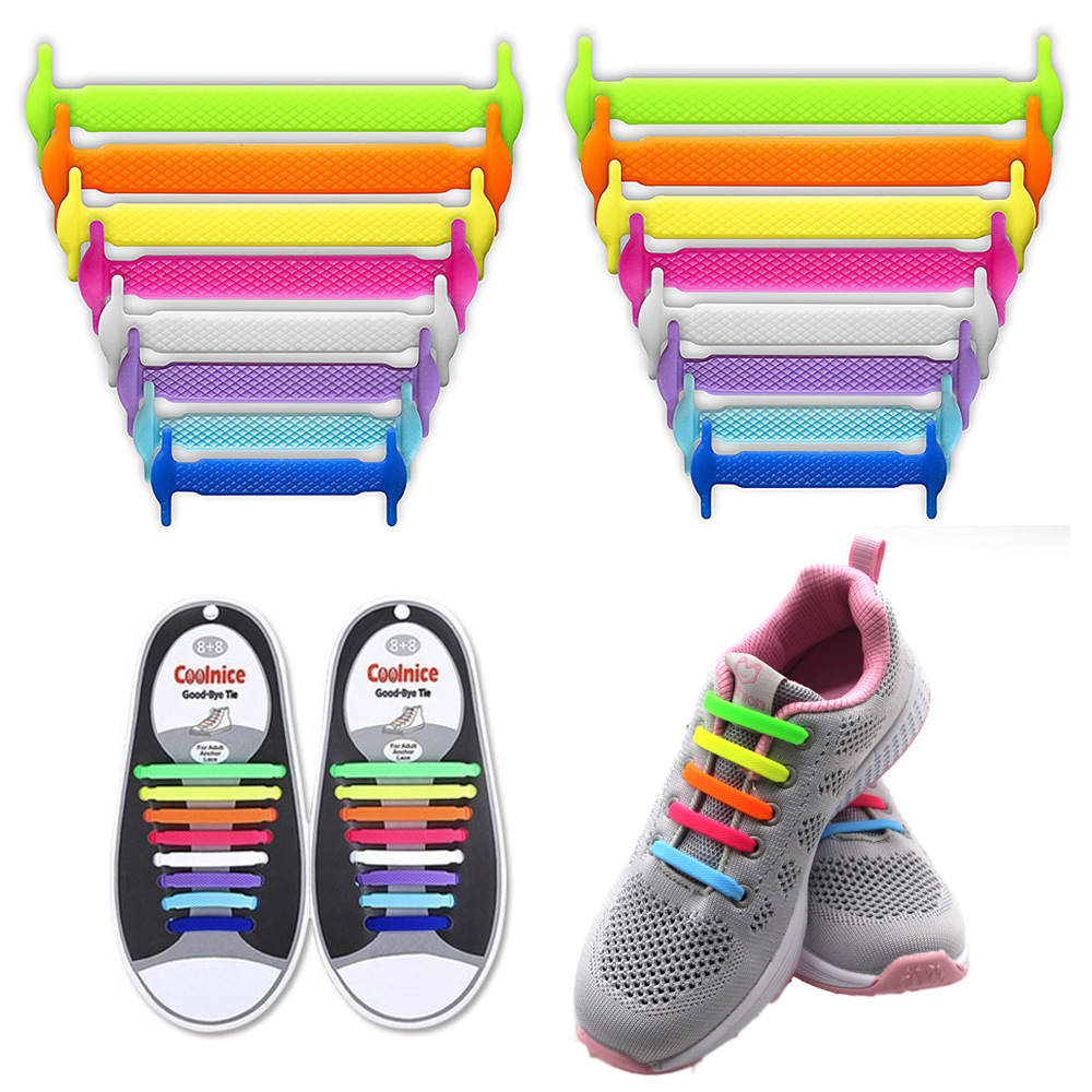 Coolnice No Tie Shoelaces for Kids and Adults (1 Pair Adults Size colorful)